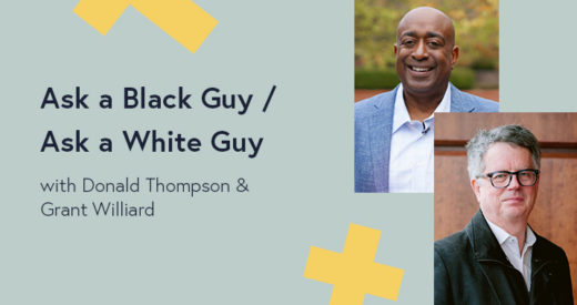 Grant Williard and Donald Thompson headshots in a Diversity: Beyond the Checkbox graphic template.