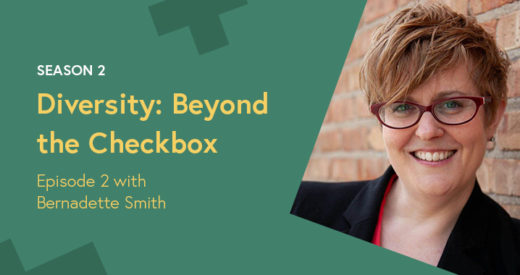 Bernadette Smith headshot in a Diversity: Beyond the Checkbox graphic template.