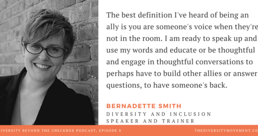 Headshot of Bernadette Smith beside a quote of Bernadette's from the podcast.