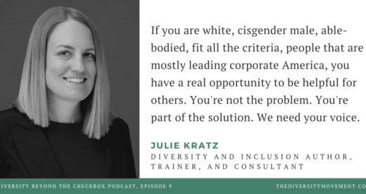 Headshot of Julie Kratz beside a quote of Julie's from the podcast.