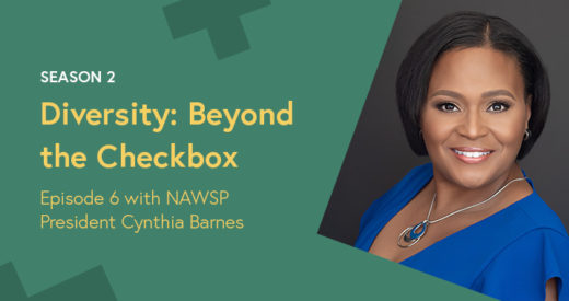 Cynthia Barnes headshot in a Diversity: Beyond the Checkbox graphic template.