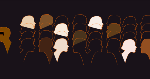 Many silhouettes of different colors facing different directions on a black background.