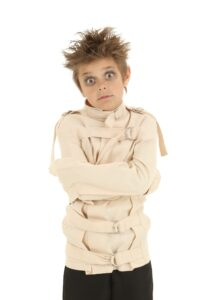 Child dressed up in a straightjacket