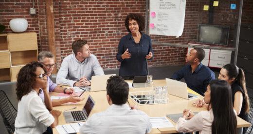 woman leading meeting