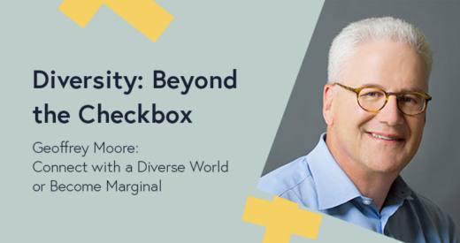 Geoffrey Moore headshot in a Diversity: Beyond the Checkbox graphic