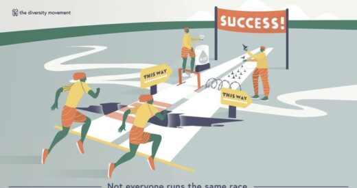 Illustration of people running in a race with different obstacles in their paths