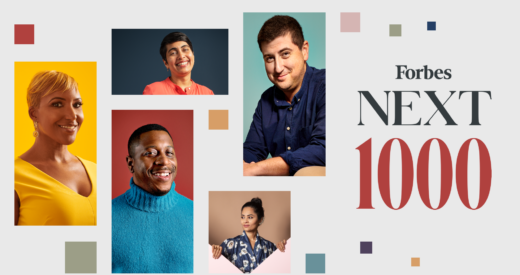 Forbes Next 1000 with honoree headshots on graphic