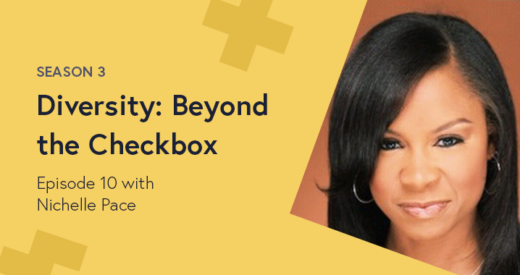 Nichelle Pace Headshot on a yellow Diversity: Beyond the Checkbox graphic