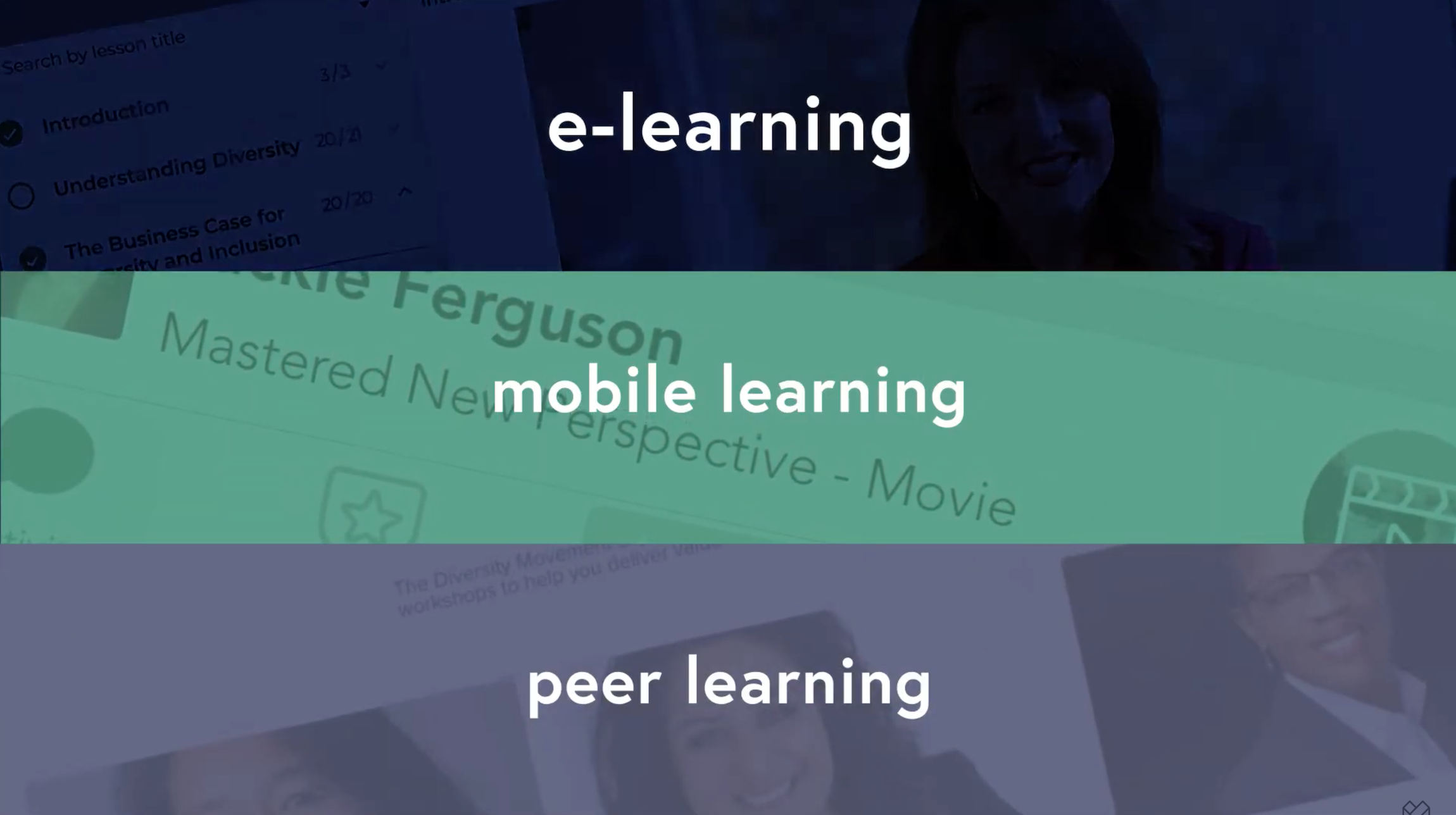 screengrab from video showcasing e-learning, mobile learning, and peer learning categories