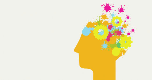 illustrated head with brain composed of gears and bright colors