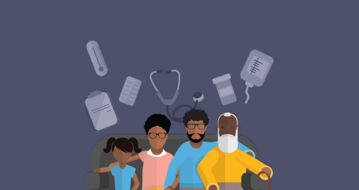 Animated family sitting together with health instruments in the background