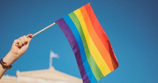 Pride flag waving in the air