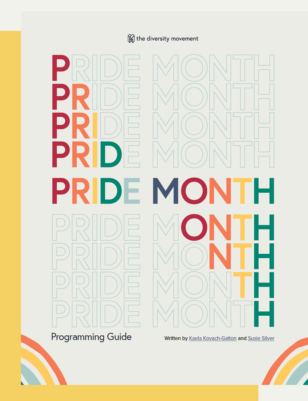 Cover of pride month guide with rainbow letters