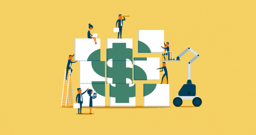 Illustrated business team building money. Investment and success concept