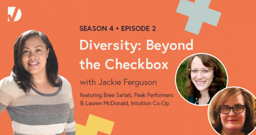 Jackie, Bree, and Lauren on a podcast episode graphic