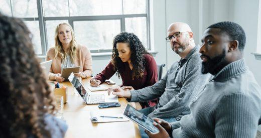 Business people listening in meeting
