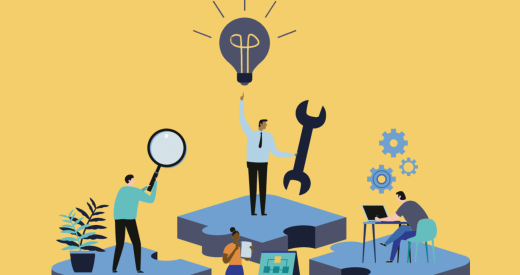 illustration of diverse businesspeople innovating