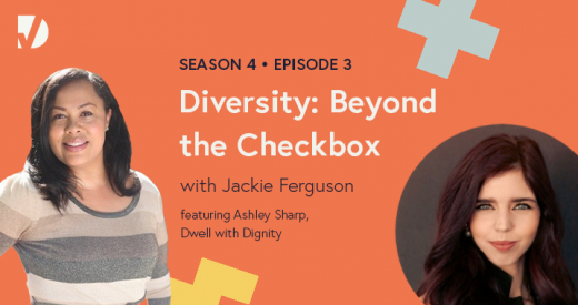 Ashley and Jackie headshots on a Diversity: Beyond the Checkbox podcast episode graphic
