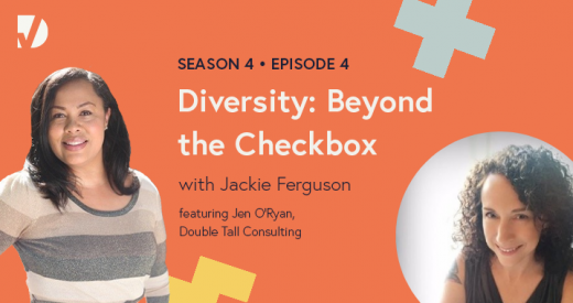 Jackie and Jen headshots on a podcast episode graphic