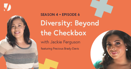 Precious and Jackie headshots on a podcast graphic