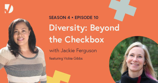 Jackie and Vickie headshots on a podcast graphic
