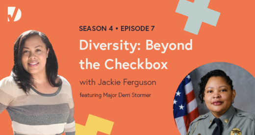 Jackie and Derri headshots on a podcast graphic