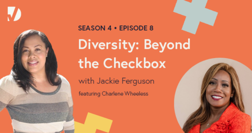 Charlene and Jackie headshots on a podcast graphic