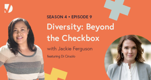 Jackie and Di headshots on a podcast graphic