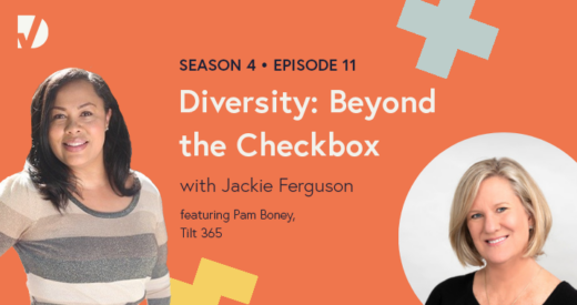 Pam and Jackie headshots on a podcast graphic
